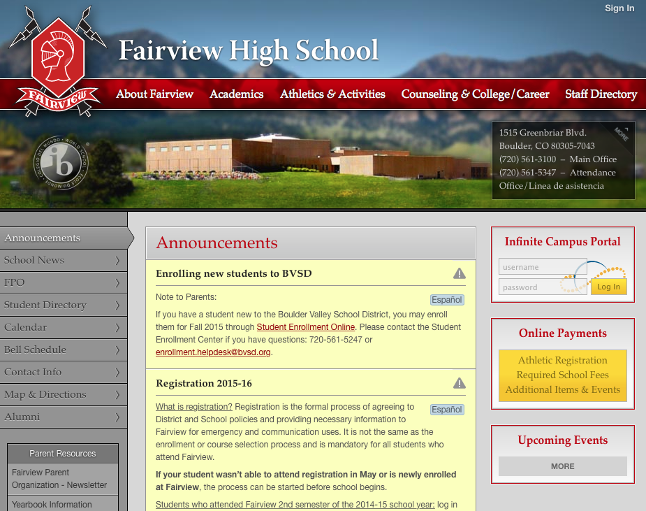 FAIRVIEW HIGH SCHOOL BOULDER