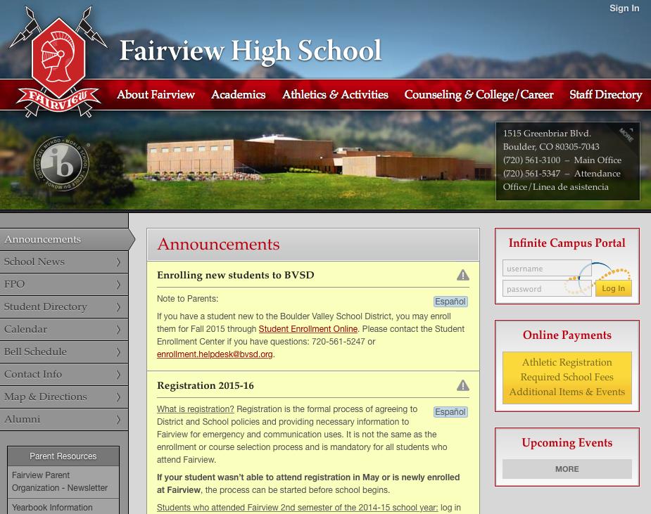 FAIRVIEW HIGH SCHOOL BOULDER