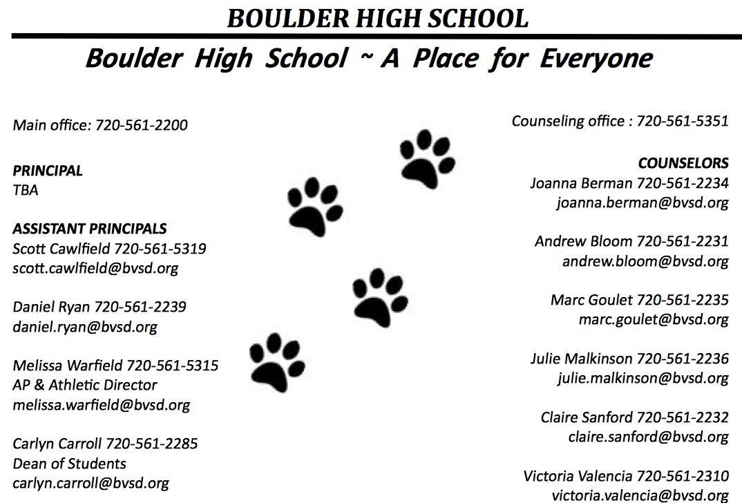 BOULDER HS WEB SITE