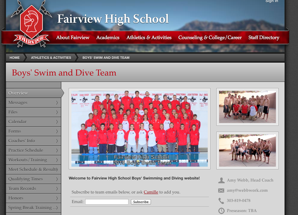 FAIRVIEW BOYS SWIM TEAM
