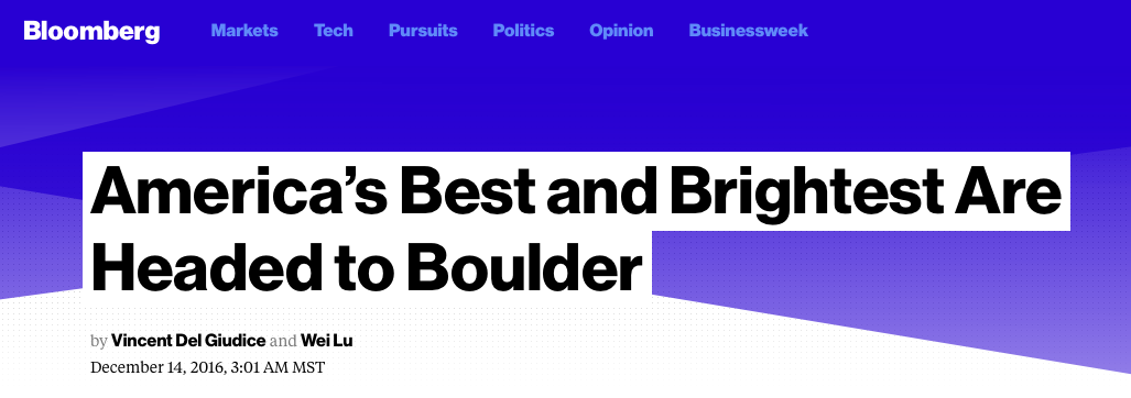 Bloomberg Rates Boulder #1 in Brain-Power